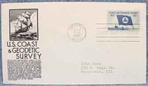 U.S. COAST & GEODETIC SURVEY FDC w/ cachet - 1957