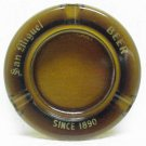 SAN MIGUEL BEER Ashtray - Round Amber Glass - Since 1890
