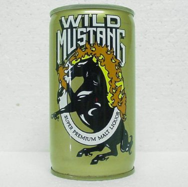 WILD MUSTANG MALT LIQUOR Can - Pittsburgh Brewing - Pittsburgh, PA - Crimped Steel - Pull tab