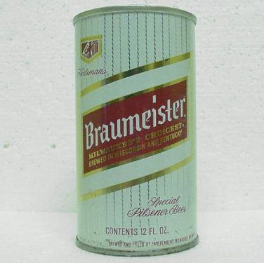 BRAUMEISTER BEER Can - Independent Milwaukee Brewery Sheboygan, WI - Straight Steel - Pull tab