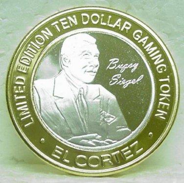 EL CORTEZ $10.00 Gaming Token Silver Strike - Bugsy Siegel - Fremont St. Las Vegas, NV