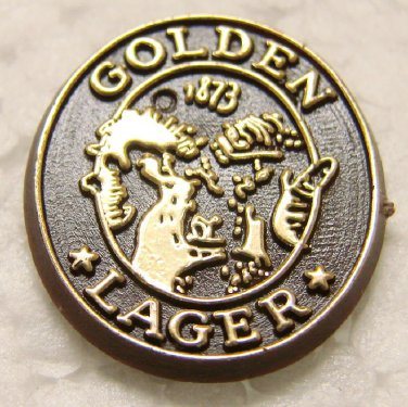 Coors GOLDEN LAGER Plastic Pin / Pinback - Golden, CO - tiny thing