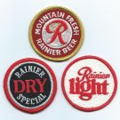 RAINIER, RAINIER LIGHT, RAINIER DRY Embroidered Patches - Rainier Brewing Co. - Seattle, WA