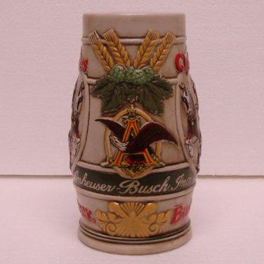 BUDWEISER Beer Mug / Stein - Anheuser Busch Inc. - Ceramic - Clydesdales - Ceramarte - Brazil