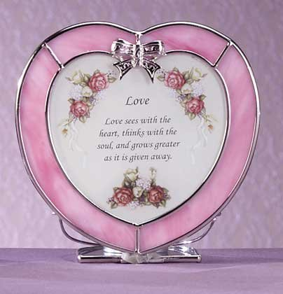 "Glass ""love"" Heart Shaped Plaque Candle Holder"