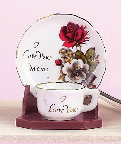 I Love You Mom Miniature Cup And Saucer Set Porcelain