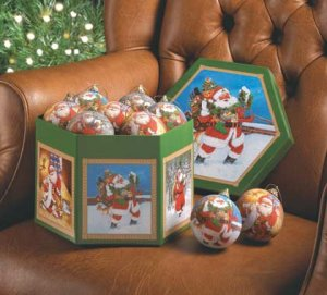 Christmas Santa Ornament Box Set Of 12