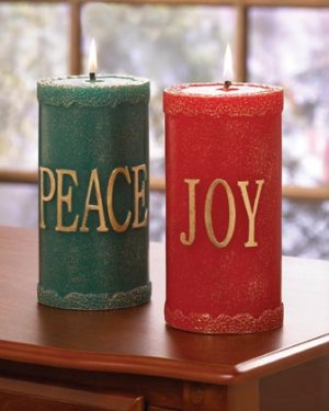 Festive Christmas Pillar Candle Holder Red Green Set Of 2
