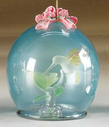 Crystal Hummingbird Ball Glass