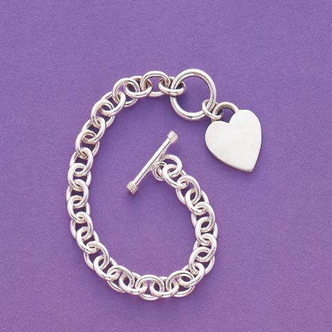 Heart Pendant Link Bracelet Sterling Silver