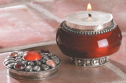 Rose Jeweled Lid Jar Candle