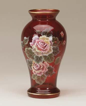 Handpainted Ruby Vase Victorian Roses