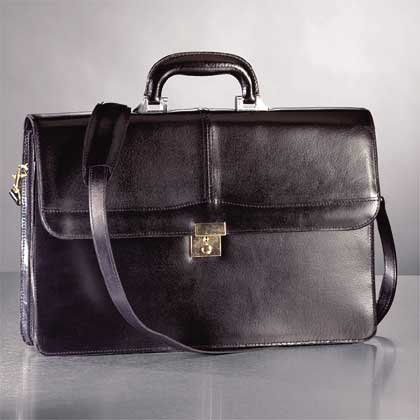 Leather Briefcase With Polished Brass Lock