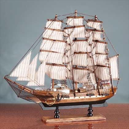 Model Square Rigger Ship Boat Sculpture Antique Wood