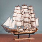 Model Square Rigger Ship Boat Sculpture Antique Wood
