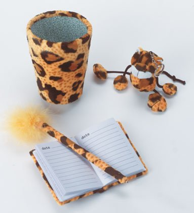 Plush Leopard Stationery Set Cup Holder Key Chain Notebook