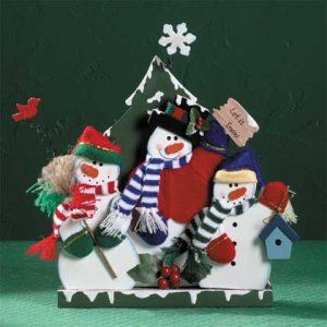 Wood Snowmen Sculpture Brightly Painted