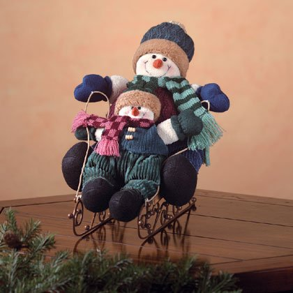 Snowman Kids On Sleigh Figurine Christmas