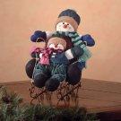 Snowman Kids On Sleigh Figurine Christmas