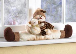 Christmas Snowman Windowsill Sitter