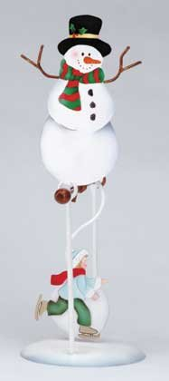 Swinging Snowman Skater Rocking Motion Figurine