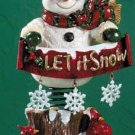 Spring Mounted Snowman Display Ceramic Finish