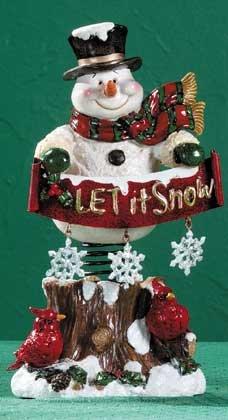Spring Mounted Snowman Display Ceramic Finish