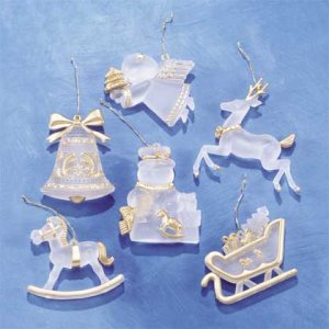 Frosted Christmas Tree Ornament Set Of 6