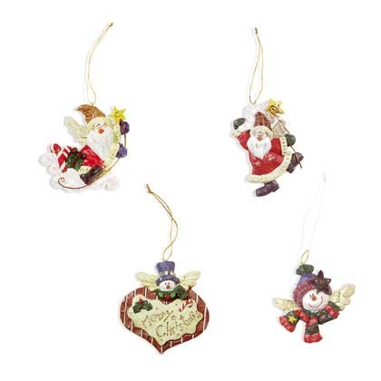 Charming Homespun Christmas Tree Ornaments Set Of 4