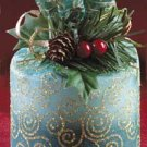 Medium Pillar Christmas Candle Two Tone Green