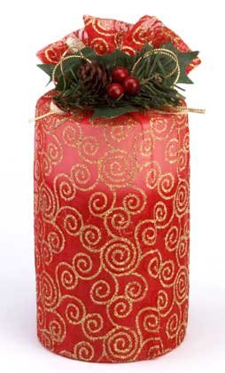 Tall Pillar Candle Two Tone Red