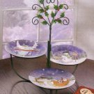 Dessert Plates And Rack Christmas Set Of 3
