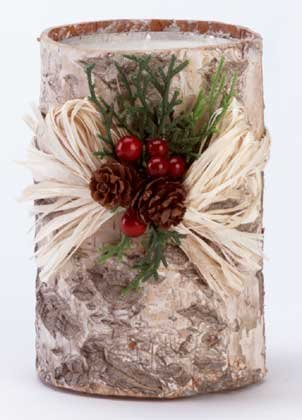 Birch Bark Christmas Candle