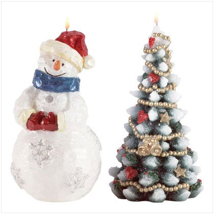 Snowman And Christmas Tree Candles Set Of 2