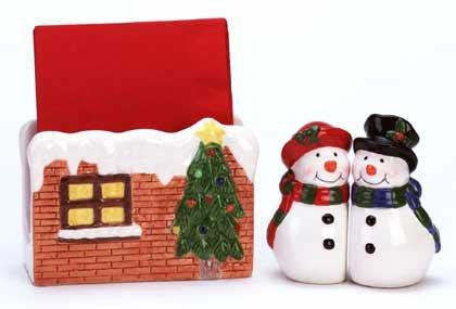 Snowman Set For Your Table Napkin Holder Salt Pepper Shakers