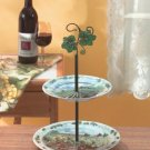 Two Tiered Wine And Grapes Plate Stand Serving Caddy