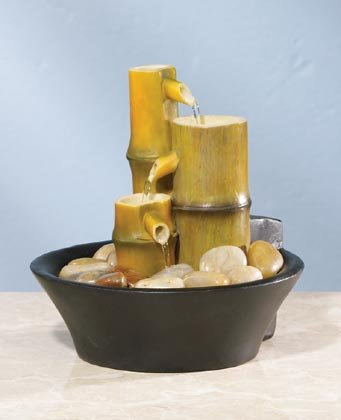 Bamboo Fountain With Rocks Zen Delight