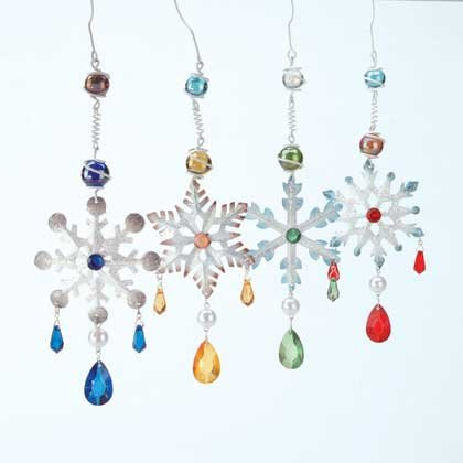 Jeweled Snowflake Ornaments Set Of 4