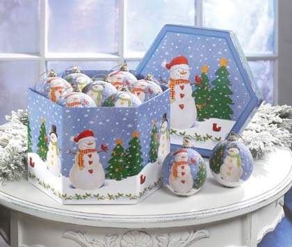 Snowman Ornament Box Set Of 12