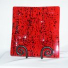 Red Asian Fused Glass Square Plate