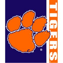 Clemson Tigers Royal Plush Raschel NCAA Blanket by Northwest   MSRP $40.00