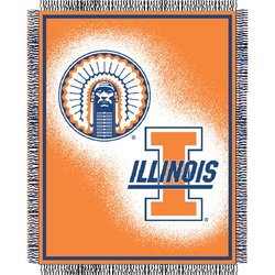 Illinois Illini Triple Woven Jacquard NCAA Throw by Northwest  MSRP $40.00