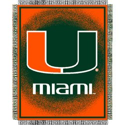 Miami Florida Hurricanes Triple Woven Jacquard NCAA Throw by Northwest   MSRP $40.00