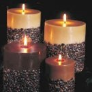 HUGE 3 wick pilar candle.Triple-scented and decorated with real coffee beans