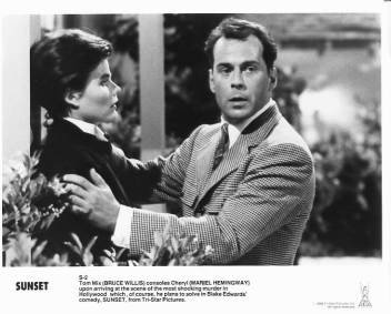 SUNSET Mariel Hemingway, Bruce Willis 8x10 movie still photo