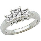 ELegant Square Cut Sterling Silver White CZ Ring Size 7