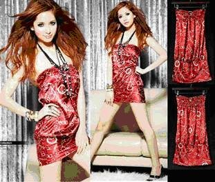 Sexy Chain Printed Satin Tube Dress ~ RED
