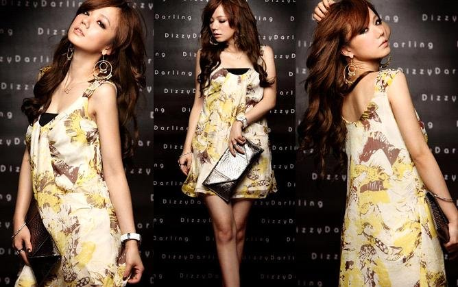 Stylish Floral Prints Flutter Chiffon Dress - Yellow