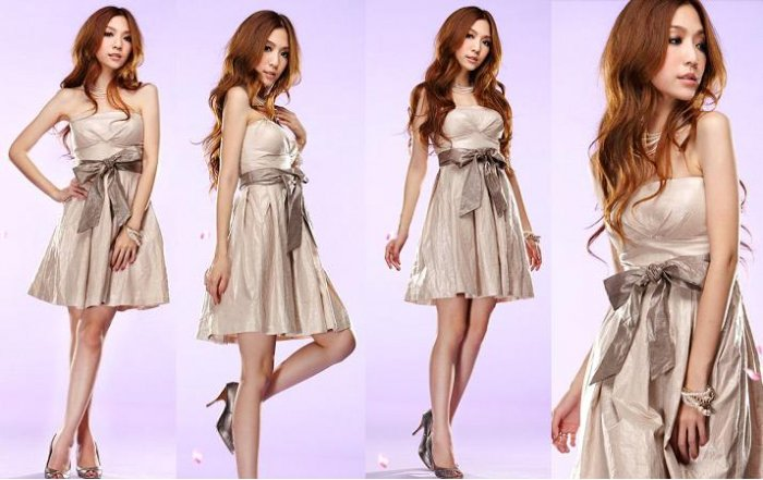 Elegant Bud Chest Shining Satin Cocktail Dress