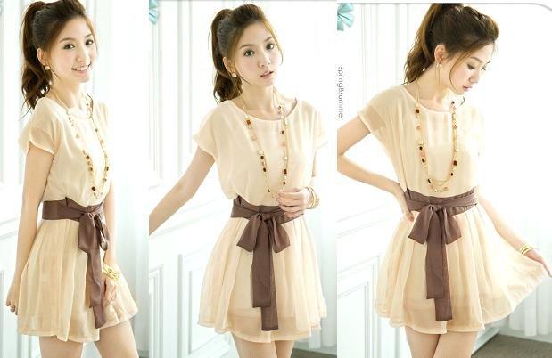 Fashionable Simple Cutting Chiffon Dress with Ribbon